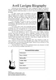 English Worksheet: Avril Lavigne