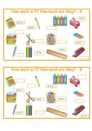 English Worksheet: How much - school material