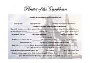 English Worksheet: Pirates of the caribbean (part 1)