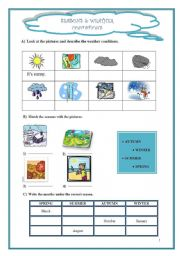 English Worksheet: SEASONS AND WEATHER CONDITIONS