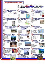 English Worksheet: South Korea.