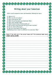 English Worksheets: Writing about your hometown