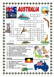 English Worksheet: Australia - crossword No. 2