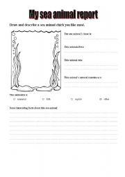 English Worksheets: My sea animal report
