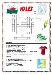 English Worksheet: Wales - crossword