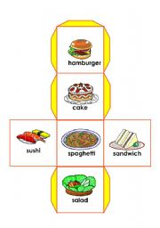 English Worksheet:   food dice 1/3