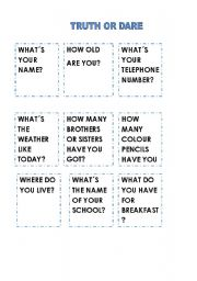 English Worksheet: TRUTH OR DARE SPEAKING CARDS