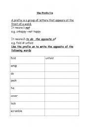 English worksheets: The prefix un