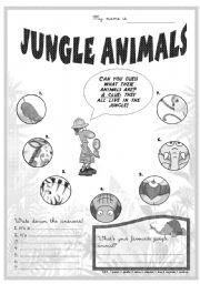 English Worksheets: Jungle animals... guess!