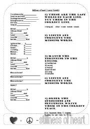 English Worksheets: Stillness of heart (by Lenny Kravitz)