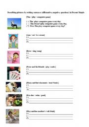 English worksheet: Present simple tense in affirmative, negative and question sentense
