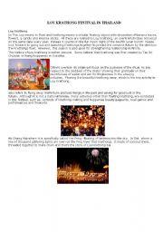 English worksheet: Loy krathong festival in thailand