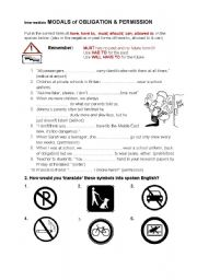 English Worksheet: Modals of Obligation, permission and prohibition