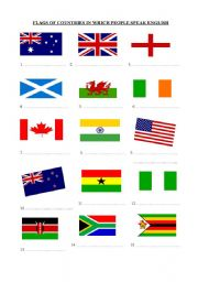 English worksheet: Colouring Flags of English Speaking ...