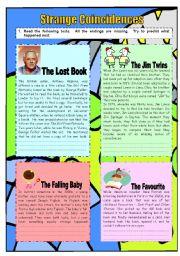 English Worksheets: Strange Coincidences - 2 pages
