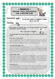 English Worksheets: Reading comprehension on begging