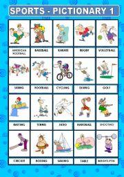 English Worksheet: SPORTS PICTIONARY 1