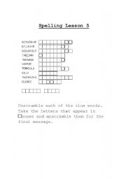 English Worksheets: Hidden Message