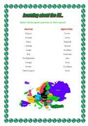 English Worksheet: EU countries and capital cities