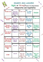 English Worksheet: Game Board - Comparative and Superlative