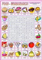 FOOD - WORDSEARCH  (B&W VERSION INCLUDED)