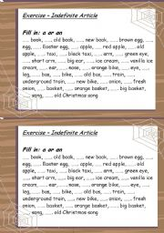 English Worksheet: Indefinite Article - a or an