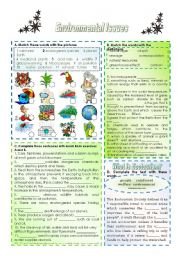 English Worksheet: ENVIRONMENTAL PROBLEMS