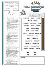 English Worksheet: Fun Sheet Theme: Violence/Crime