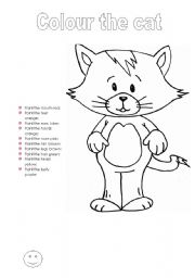 English Worksheets: Colour the cat - colours and body parts