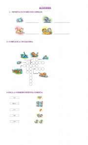 English Worksheets: ACTIVITIES INVOLVING ANIMALS