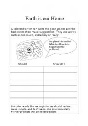 earth is our home esl worksheet by aliemail. Black Bedroom Furniture Sets. Home Design Ideas