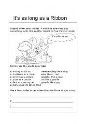 English Worksheets: It�s as long as a Ribbon