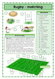 English Worksheet: Rugby - matching exercise