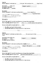 English Worksheet: Used to/ be used to/get used to