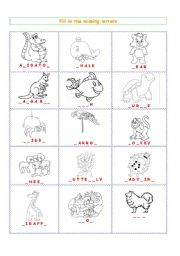 English Worksheets: Animals -  fill in the missing letters