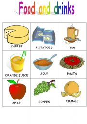 English Worksheet: Food and drinks flashcards 3/4