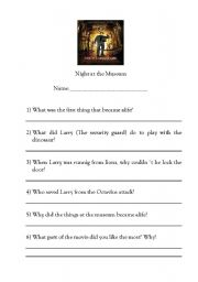 Night At The Museum Worksheets - Geotwitter Kids Activities