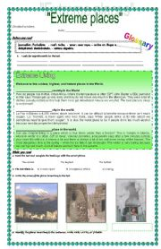 English Worksheet: Extreme Places (Comparative and superlative adjectives)