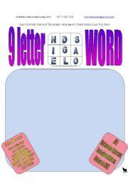 English Worksheets: 9 letter word - �ALONGSIDE�
