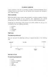 English Worksheets: PLANNING LESSONS