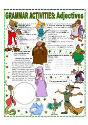 English Worksheet: ADJECTIVES - EASY GRAMMAR REFERENCE AND ACTIVITIES.