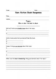 English worksheets: Non-fiction Book Report form