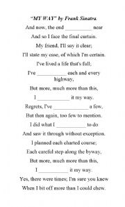 English Worksheet: Song: My Way By Frank Sinatra