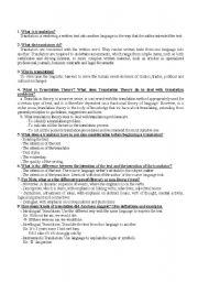 English Worksheets: Theory of Translation