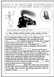 English Worksheets: CALLS FROM BEYOND (B&W VERSION)