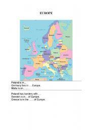 English Worksheet: geography of Europe