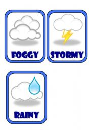 Set of 7 weather flashcards