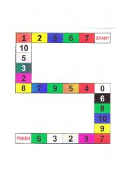 English Worksheet: Board game  Colours and numbers