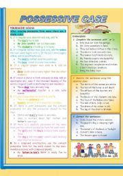 English Worksheet: Possessive case - Grammar explanations_exercises