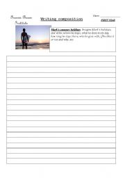 English Worksheets: Writing composition: holidays